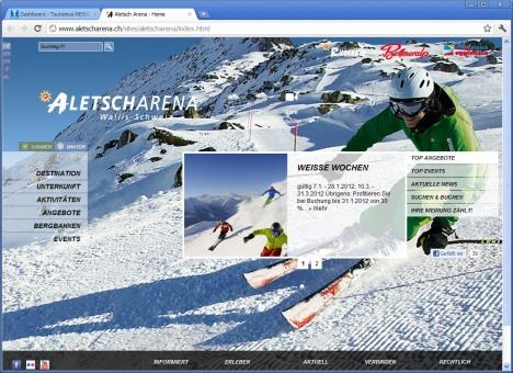 Die Destinationswebseite www.aletscharena.ch präsentiert sich ab sofort in neuem attraktivem Winterkleid.