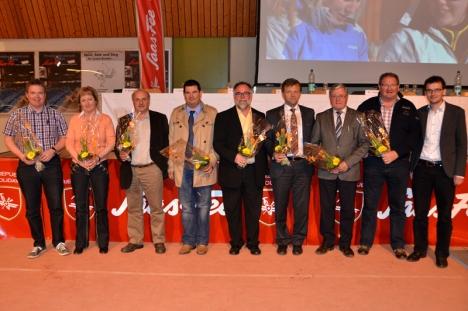Der neue Vorstand mit Jochen Bumann, Benita Hischier, Arthur Kummer, Fabian Zurbriggen, Christoph Gysel, Bruno Ruppen, Ambros Bumann, Jean-Pierre Kalbermatten und Pascal Schär(von links nach rechts):